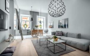 интерьер, гостиная, диван, люстра