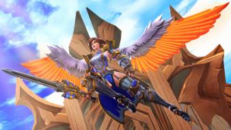3д графика, ангел , angel, девушка, фон, униформа, крылья, меч