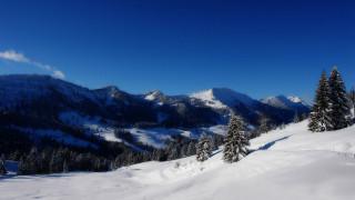 природа, горы, небо, деревья, снег