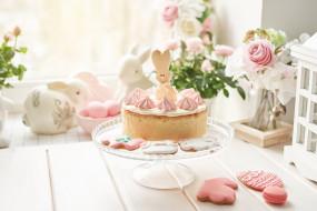 еда, торты, тортик, печенье, выпечка, цветы