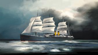 корабли, рисованные, ss, germanic, 1874