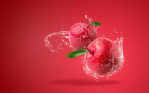 вода, брызги, фон, яблоки, всплеск, красные