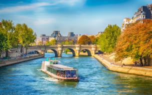 города, париж , франция, мост, река