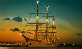 корабли, парусники, ночь, причал, парусник, огни