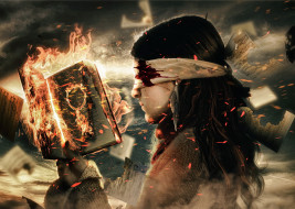 девушка, фон, маска, книга, огонь