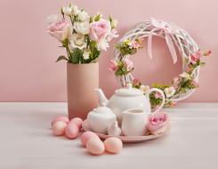 праздничные, пасха, цветы, праздник, яйца, весна, посуда, венок