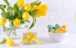 праздничные, пасха, праздник, подарок, тюльпаны, ваза, композиция, egg
