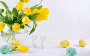 праздничные, пасха, цветы, тюльпаны, ваза, фигурки, egg