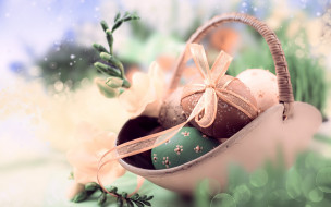 праздничные, пасха, фон, праздник, весна, лента, корзинка, веточки