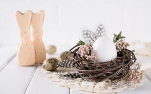 праздничные, пасха, цветы, праздник, весна, печенье, гнездо, фигурки, композиция