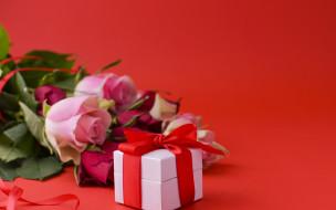 праздничные, подарки и коробочки, день, рождения, подарок, розы