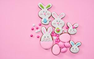 праздничные, пасха, фон, розовый, печенье, фигурки