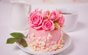 еда, торты, торт, розы