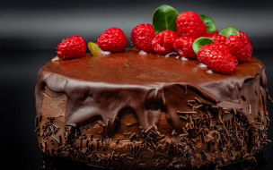 еда, торты, торт, глазурь, шоколад, малина