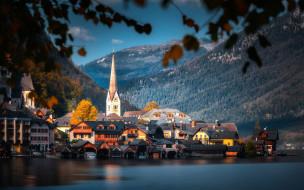 города, гальштат , австрия, горы, озеро