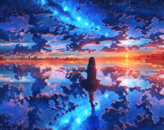 аниме, пейзажи,  природа, закат