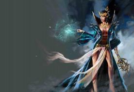 фэнтези, маги,  волшебники, девушка, фон, магия, платье