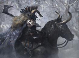 фэнтези, существа, конь, фон, мужчина, топор, маска, рога