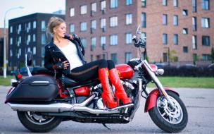 мотоциклы, мото с девушкой, юля, yamaha, xvs, 1300