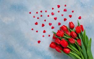 праздничные, день святого валентина,  сердечки,  любовь, любовь, сердечки, тюльпаны, red, love, romantic, hearts, tulips