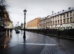 города, санкт-петербург,  петергоф , россия, питер, тротуарная, плитка, пасмурно, дождь, фонари