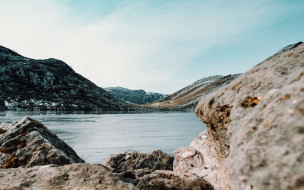 природа, побережье, горы, скалы, вода
