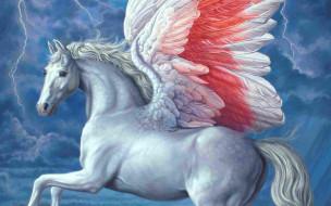 фэнтези, пегасы, пегас, конь, крылья, молнии