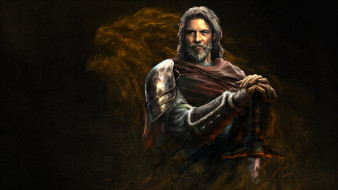 фэнтези, иные миры,  иные времена, мужчина, фон, взгляд, меч