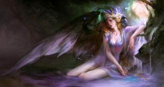 фэнтези, ангелы, девушка, фон, взгляд, крылья