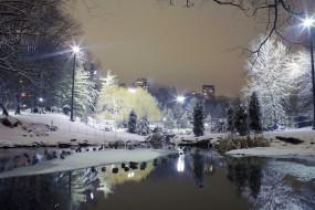 город, зима, деревья, фонари, снег, ставок, парк