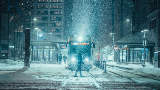 трамвай, снегопад, город, америка, зима