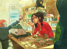 рисованное, люди, мальчик, магазин, девушка, ограбление