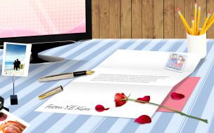 монитор, фото, стол, ручка, письмо, карандаши, роза