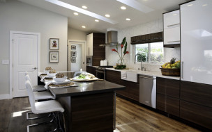 интерьер, кухня, холодильник, плита