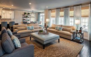интерьер, гостиная, диваны, подушки, лампы