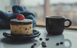 еда, торты, торт, вишня, кофе