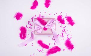 праздничные, подарки и коробочки, подарок, бант, перья