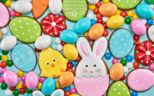 праздничные, пасха, праздник, яйца, конфеты, печенье