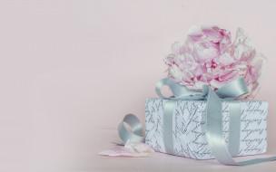 праздничные, подарки и коробочки, подарок, цветок, пион
