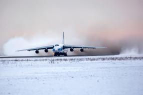 ан - 124, авиация, грузовые самолёты, ан, 124, советский, тяжелый, дальний, транспортный, самолет, зима, посадка