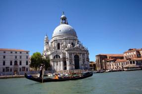 города, венеция , италия, канал, собор, гондола