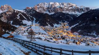 горы, зима, снег, вечер, огни