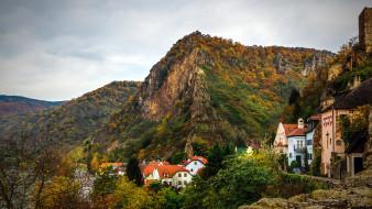 горы, дома, осень
