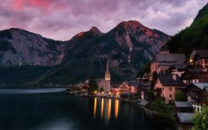 города, гальштат , австрия, горы, озеро, ночь, огни