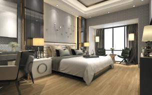 интерьер, спальня, кровать, лампы