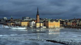 города, стокгольм , швеция, река, зима, лед, панорама