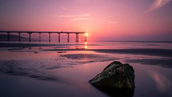 море, закат, мост, камень, Англия, England, Северное море, North Sea, Северный Йоркшир, North Yorkshire, Saltburn-by-the-Sea, Saltburn, Солтберн-бай-те-Си, Пирс Солтберн, Saltburn Pier