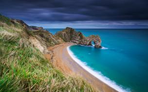 природа, моря, океаны, море, пляж, трава, скалы, побережье, англия, england, ла-манш, english, channel, dorset, дорсет, jurassic, coast, юрское, durdle, door, арка, дердл