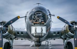 boeing b-17 flying fortress, авиация, военно-транспортные самолёты, boeing, b17, flying, fortress, американский, цельнометаллический, четырехмоторный, бомбардировщик