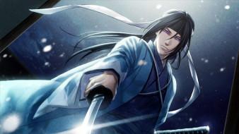 аниме, hakuouki, парень, меч, юката